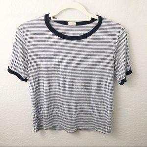 John Galt blue striped tee